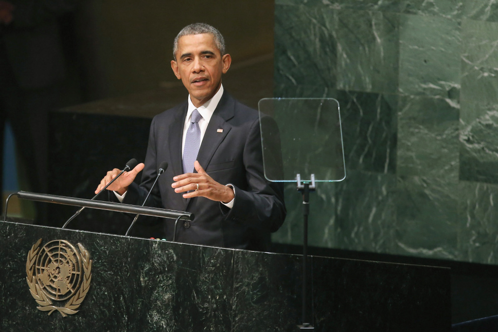 U.S. President Barack Obama addresses the 70th annual United Nations General Assembly at the UN headquarters September 28, 2015 in New York City.