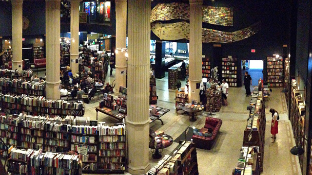 The floor of The Last Bookstore in Los Angeles