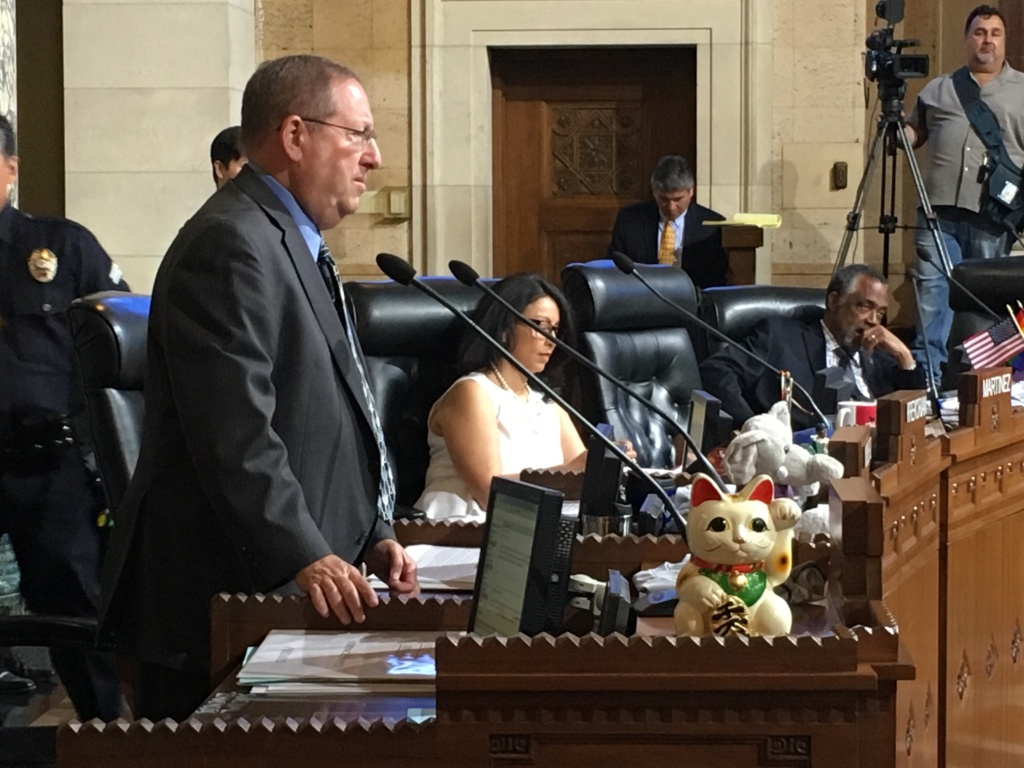 Los Angeles City Council members Paul Koretz, left, and Nury Martinez expressed reservations about allowing legal nonprofits to use their discretion in deciding whether immigrants with convictions for violent offenses should benefit from the city's contribution to a legal defense fund. The council voted to designate $2 million for the fund on June 23, 2017 at City Hall.