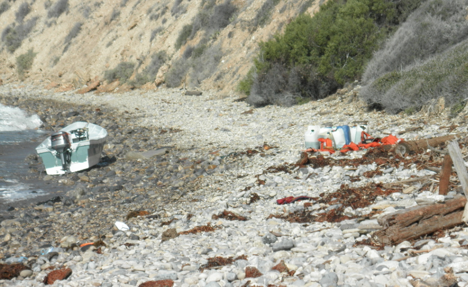 A suspected smuggling boat discovered Saturday at Abalone Cove in Rancho Palos Verdes.