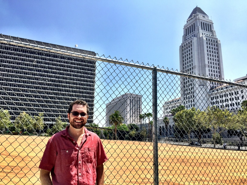 Robert Petersen, host of The Hidden History of Los Angeles podcast, at First and Spring in downtown Los Angeles — a very historic vacant lot.
