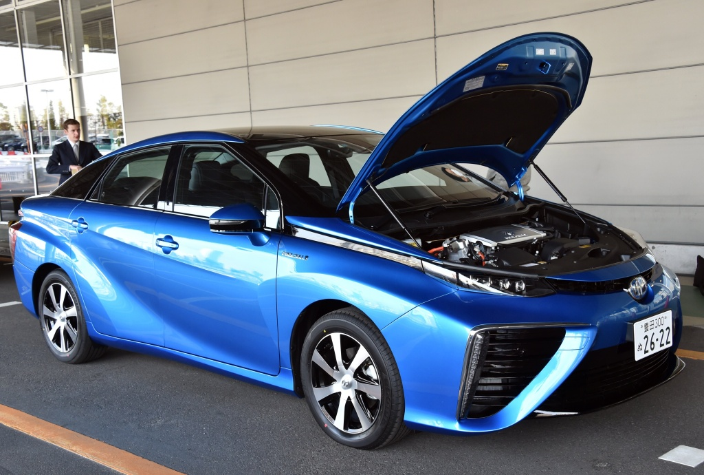 This picture taken on November 17, 2014 shows Japanese auto giant Toyota Motor's fuel cell vehicle 'Mirai', meaning future, in Tokyo. The Mirai, which can drive 650km from a charge of hydrogen, will go on sale in Japan with a price of 62,000 USD (7.2 million yen) on December 15. AFP PHOTO / Yoshikazu TSUNO (Photo credit should read YOSHIKAZU TSUNO/AFP/Getty Images)