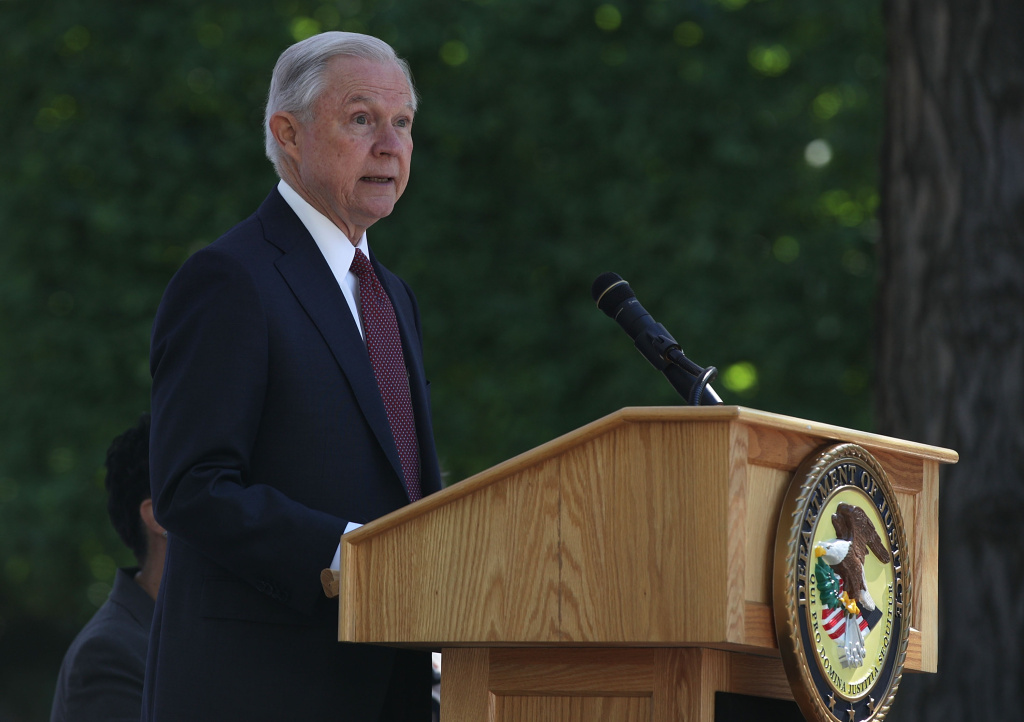 U.S. Attorney General Jeff Sessions delivers remarks during a Bureau of Prisons Correctional Worker's Week Memorial Service at the National Law Enforcement Officers Memorial May 9, 2017.