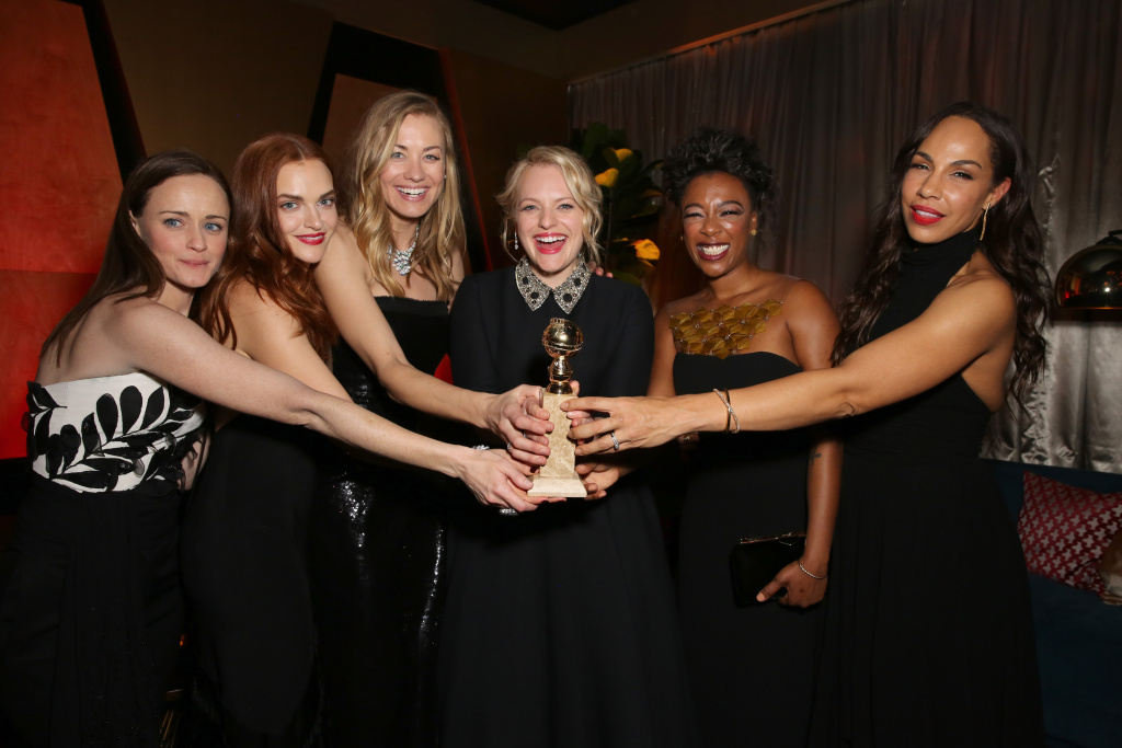 From left to right, actors Alexis Bledel, Madeline Brewer, Yvonne Strahovski, Elisabeth Moss, Samira Wiley and Amanda Brugel attend Hulu's 2018 Golden Globes After Party at The Beverly Hilton Hotel on January 7, 2018 in Beverly Hills, California.