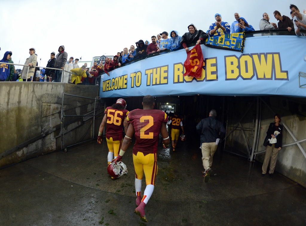 Robert Woods #2 of the USC Trojans leaves the field after losing to the UCLA Bruins 38-28 at Rose Bowl on November 17, 2012 in Pasadena, California.