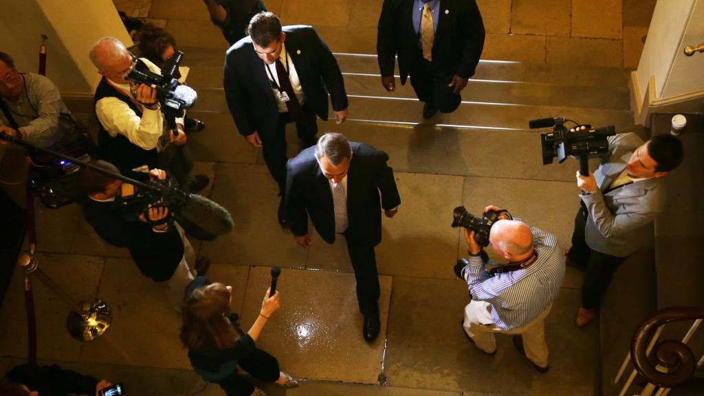Speaker of the House John Boehner arrives at the Capitol on Saturday.