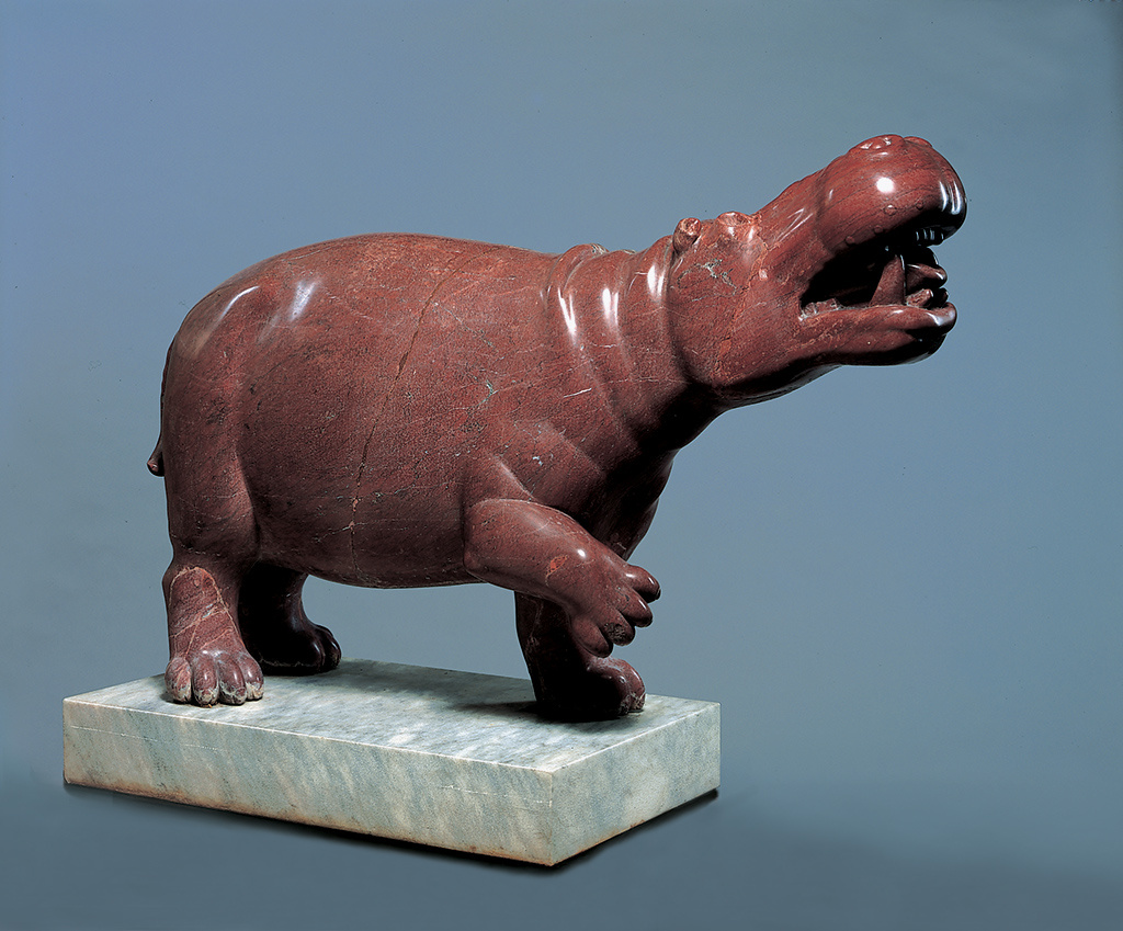 Hippopotamus, Roman, AD 1–100; found in Rome, red marble.            Ny Carlsberg Glyptotek, Copenhagen.