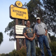"Hitching Post partners Frank Ostini and Gray Hartley pose in the spot where thousands of tourists have snapped pictures since ""Sideways""was released in 2004."