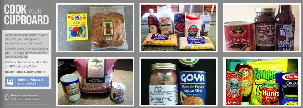 With it's Cook Your Cupboard application, NPR wants to know what food and ingredients you are holding onto, and offer a way for others to lend a hand into making the surplus food into a meal.