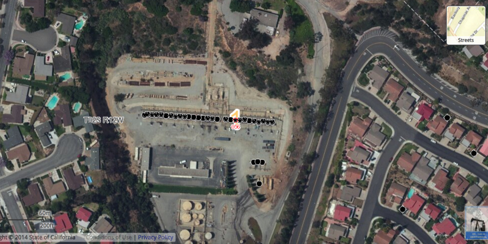 The line of dots indicate gas storage and oil extraction wells on the grounds of the Montebello Natural Gas Storage Facility in Montebello.