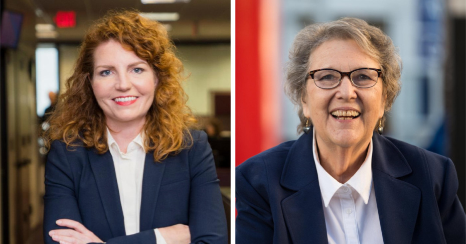 Heather Repenning (left) and Jackie Goldberg (right) are running against each other in a special election for an open seat on the L.A. Unified School Board covering northeast and southeast L.A. Election Day is May 14.