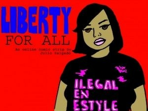 "Libertad, the heroine of Julio Salgado's ""Liberty for All"" comic strip"