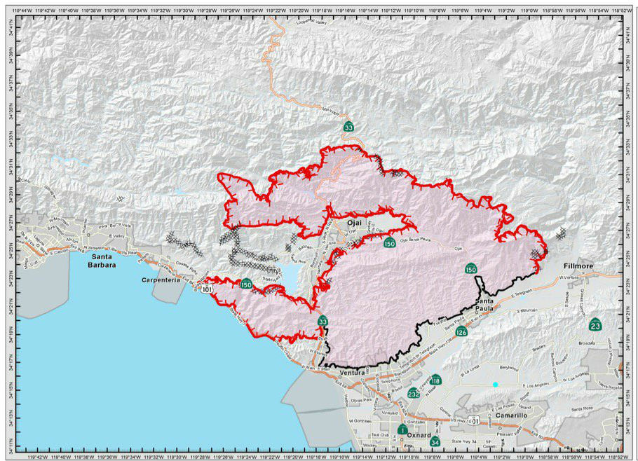 A map of the Thomas Fire's progression in Ventura and Santa Barbara counties, midday Sunday, Dec. 10, 2017.