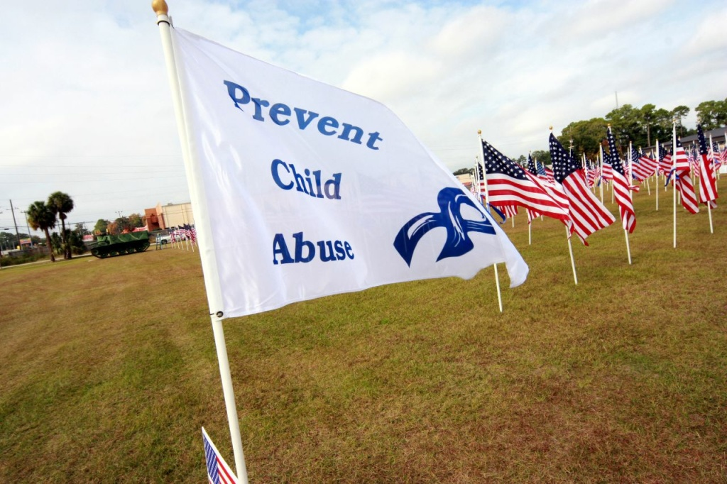 A flag for Child Abuse Prevention Month.