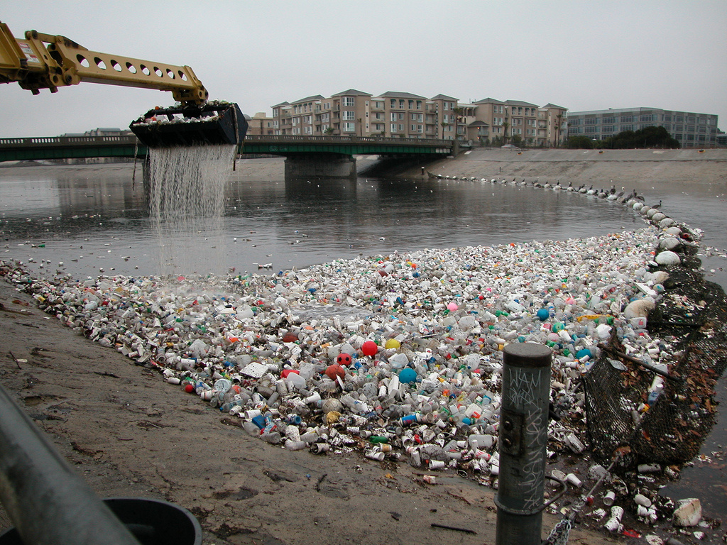 Plastic debris clog the mouth of the Los Angeles River in Long Beach in 2002.