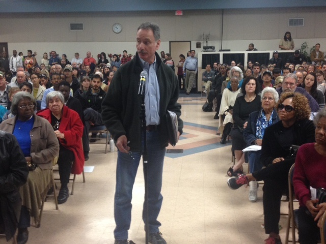 Steve Peckman was among the South L.A. residents who came to a community meeting to demand a moratorium on oil drilling in the neighborhood.