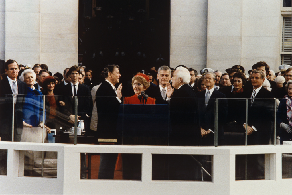 Ronald Reagan and Nancy Reagan at his [residential inauguration on Jan. 20, 1981, in Washington, D.C.