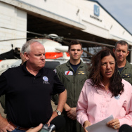 Acting Secretary of Homeland Security Elaine Duke (C) speaks to reporters during a news conference at Ellington Airport on September 6, 2017 in Houston, Texas.