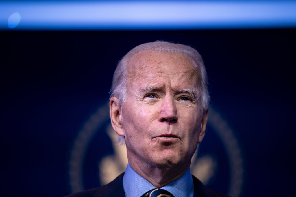 US President-elect Joe Biden speaks about a foreign policy and national security virtual briefing he held earlier at the Queen Theater on December 28, 2020, in Wilmington, Delaware.
