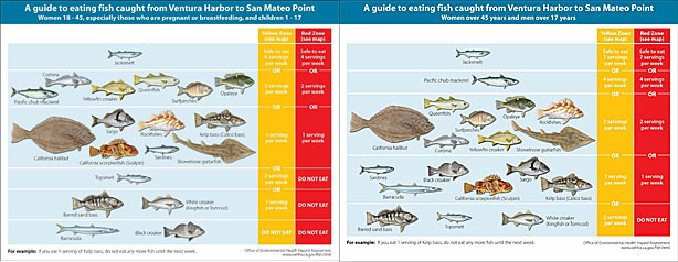 Guidelines of which fish can be eaten (view Safe Eating Guidelines fact sheet at http://oehha.ca.gov/fish/so_cal/pdf_zip/SoCalFactsheet61809.pdf for larger versions of these images)