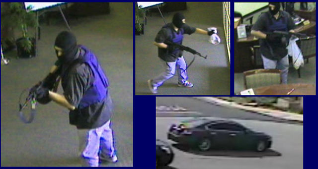 Surveillance pictures of the AK-Bandit on Wednesday, February 29, 2012, robbing the California Bank & Trust on the 5400 block of Riverside Drive in Chino, California. Investigators say he's been using a Nissan Maxima as his getaway car.