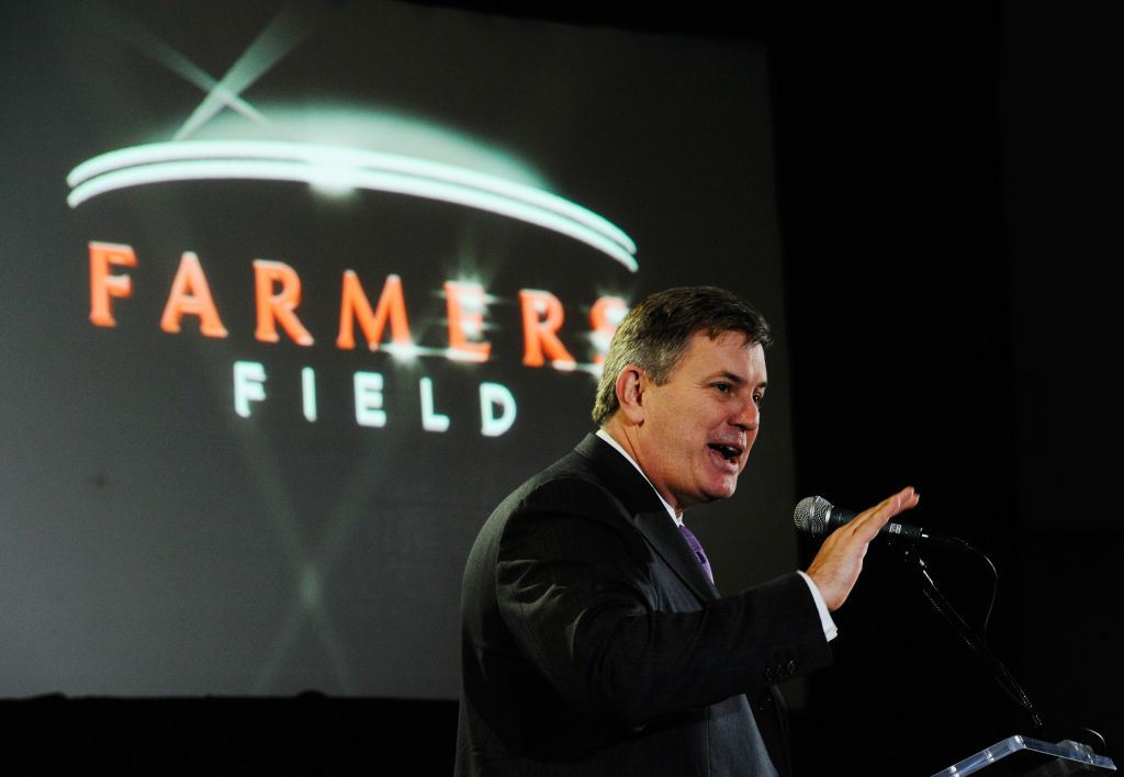 Tim Leiweke, President and CEO of AEG during an event announcing naming rights for the new football stadium Farmers Field at Los Angeles Convention Center on February 1, 2011 in Los Angeles, California.