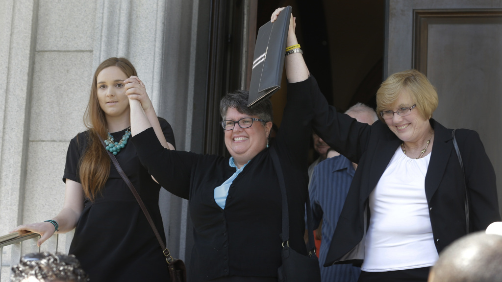 Plantiffs in the federal suit over Virginia's ban on gay marriage, Emily Schall-Townley (from left), Carol Schall and Mary Townley, after a hearing on Virginia's same-sex-marriage ban in Richmond, Va., in May. Wednesday, the 4th U.S. Circuit Court of Appeals refused a motion to stay its decision that the ban isn't constitutional.