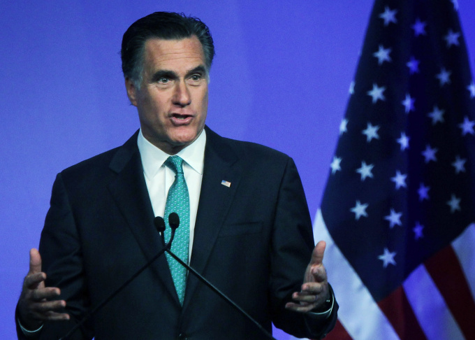 Mitt Romney Addresses The Newspaper Association Of America Meeting In DC
