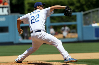 Clayton Kershaw of the Los Angeles Dodgers throws a pitch against the Los Angeles Angels of Anaheim on June 26, 2011 at Dodger Stadium in Los Angeles, California. The Dodgers won 3-2.