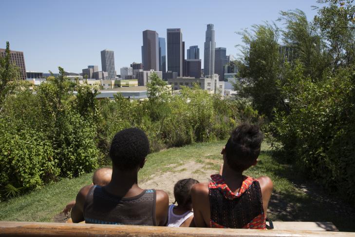 Stephanie Williams, 20, and her daughter Kylee Lewis, 2, in Vista Hermosa Natural Park in Los Angeles on June 20, 2016. Williams earned her high school diploma this June through Project NATEEN at Children's Hospital Los Angeles.