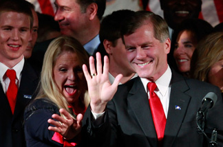 Former Republican Gov. Bob McDonnell of Virginia and his wife Maureen McDonnell greet the crowd at his victory party on November 3, 2009 in Richmond, Virginia.