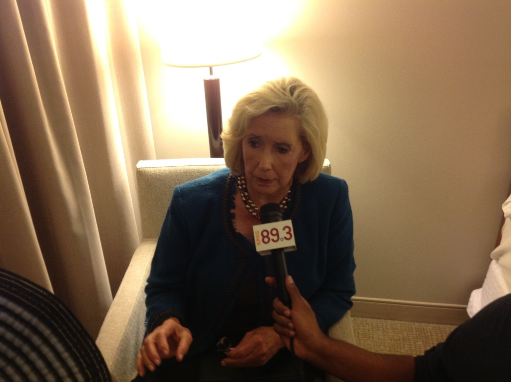 Women's equality activist Lilly Ledbetter being interviewed on the Patt Morrison Show at the DNC Sept. 6th, 2012.
