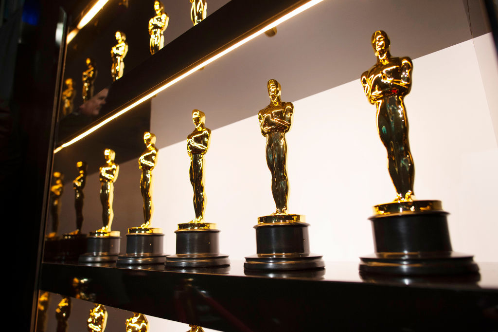 Oscars statuettes are on display backstage during the 92nd Annual Academy Awards at the Dolby Theatre on February 09, 2020 in Hollywood, California.