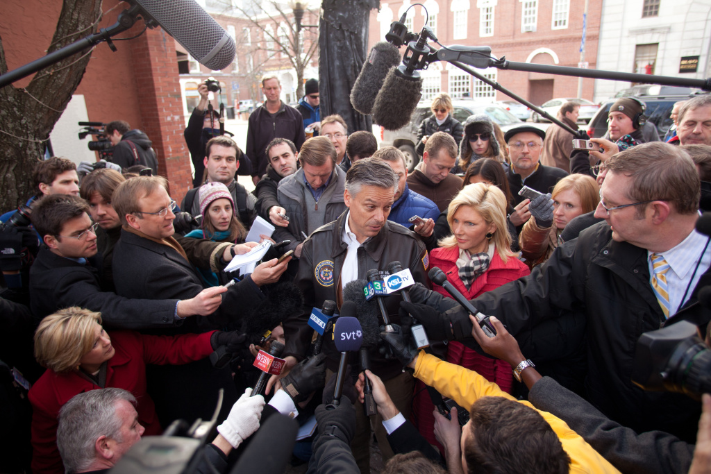 Republican presidential candidate,  former Utah Gov. Jon Huntsman speaks to reporters prior to a campaign stop in Eagle Square on January 09, 2012 in Concord, New Hampshire.