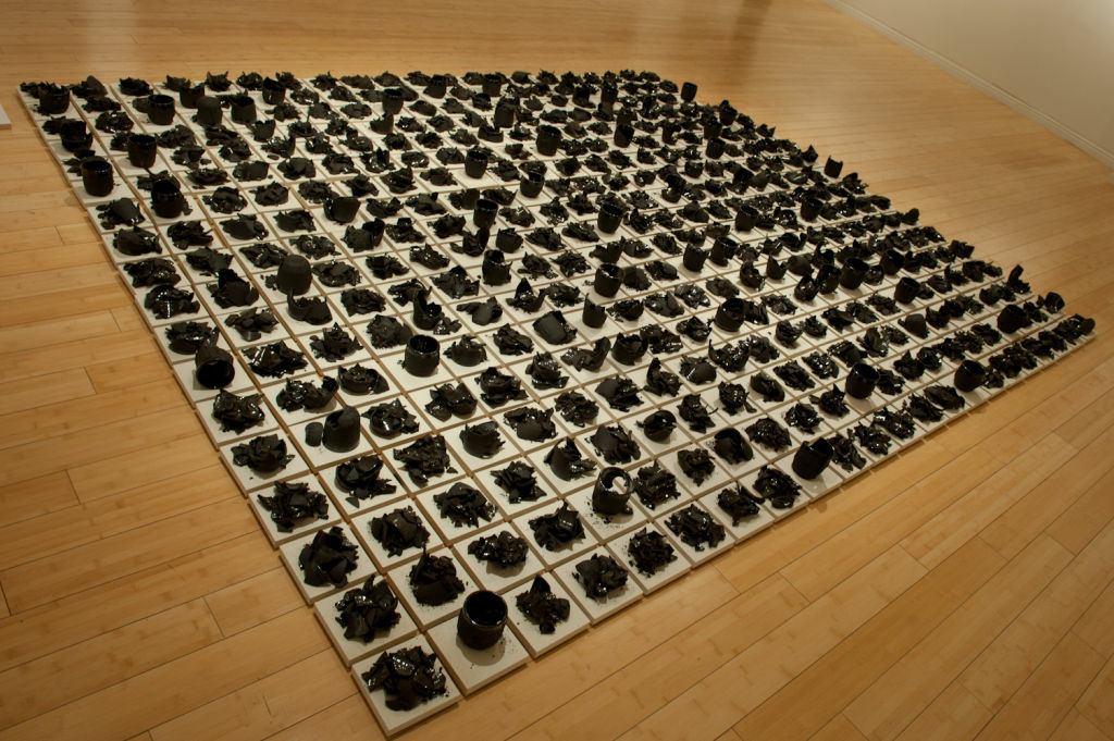 The 393 cup floor installation is a major focal point of the show as it takes both a lot of space and emotion.