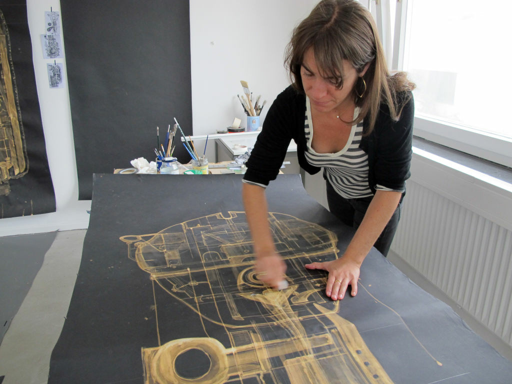 Santa Monica artist Marisa Mandler works on her latest project in her studio in Berlin, Germany.  Mandler has found the Berlin contemporary art community welcoming.