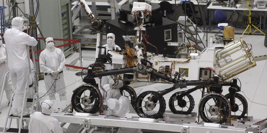 Engineers work on the Mars rover Curiosity at NASA's Jet Propulsion Laboratory in Pasadena, Calif., Thursday, Sept. 16, 2010. The rover Curiosity is expected to launch from Cape Canaveral Air Force Station in Florida, between Nov. 25 and Dec. 18, 2011. (AP Photo/Jae C. Hong)
