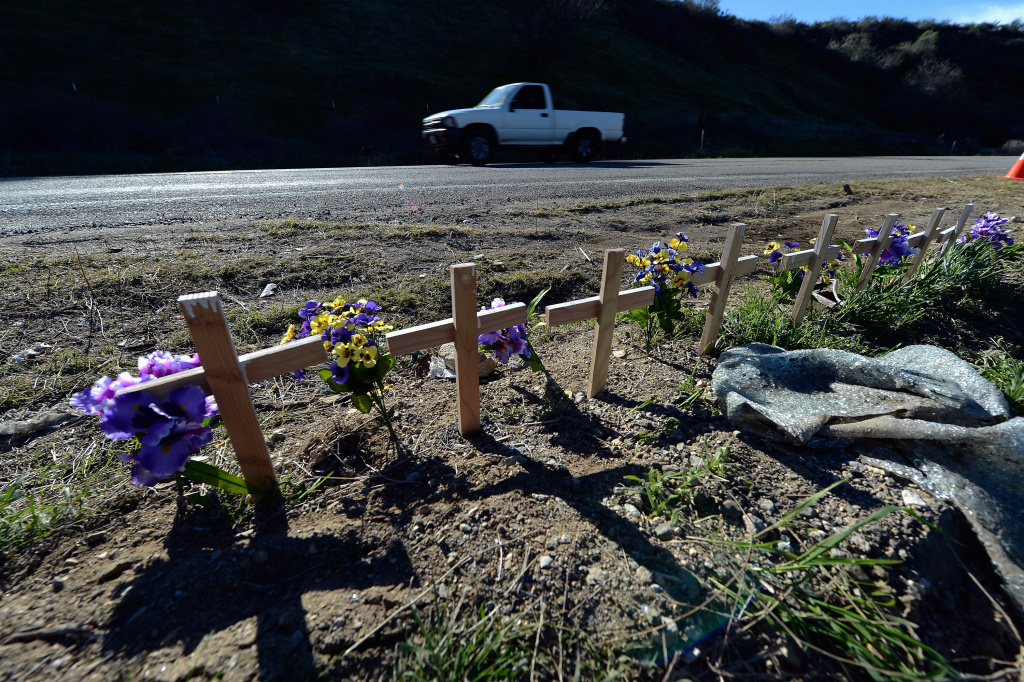 Eight crosses representing victims of recent tour bus crash sit on Highway 38 on February 15, 2013 in San Bernardino, California. Responding to the deadly tour bus crash in Southern California, teams of federal inspectors will target bus companies with a history of problems as part of a national crackdown aimed at weeding out unsafe operators.