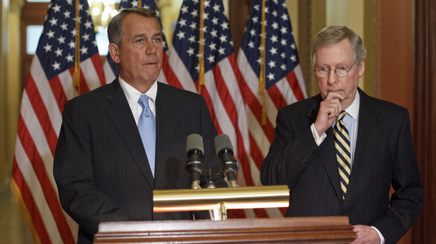 House Speaker John Boehner, R-Ohio, (left) with Senate Minority Leader Mitch McConnell, R-Ky., on Capitol Hill on Feb. 29. Republicans on Capitol Hill have been quick to criticize the president for bypassing Congress with his immigration action, but they've been unusually silent on the policy itself.