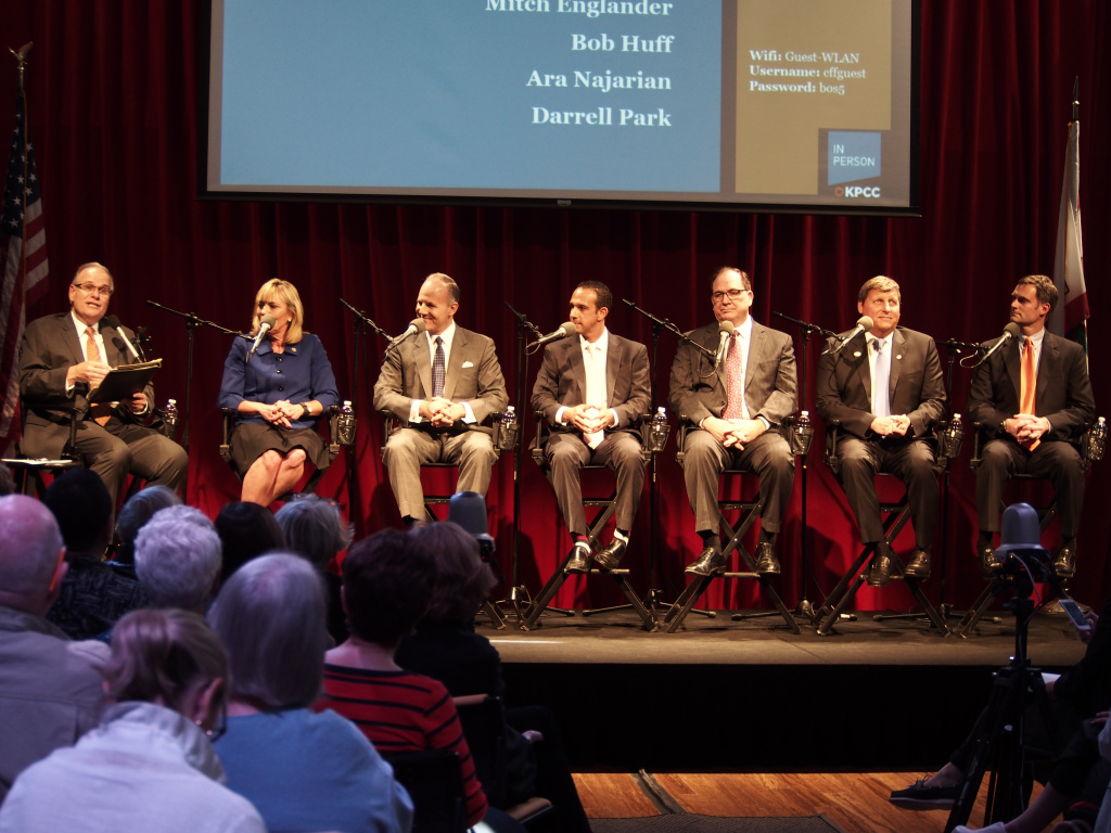 KPCC's Larry Mantle moderated a debate among candidates for the Los Angeles County Board of Supervisors district 5 seat.