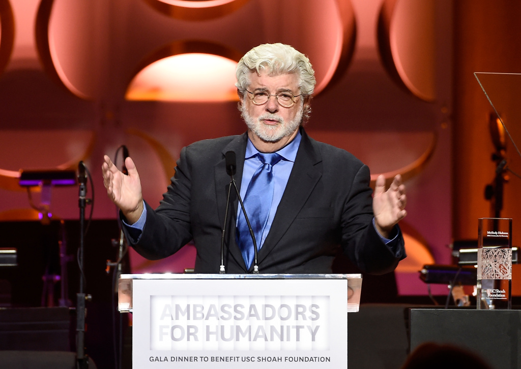 File: Honoree George Lucas speaks onstage at the Ambassadors for Humanity Gala Benefiting USC Shoah Foundation at The Ray Dolby Ballroom at Hollywood & Highland Center on Dec. 8, 2016.