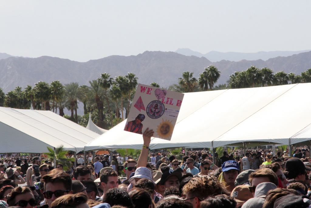 Fans eagerly await Lil B's performance on Day One of the Coachella Music Festival.
