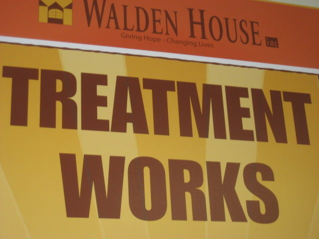 This file photo shows a a sign for a residential treatment facility for drug addicts and former prison inmates near MacArthur Park. In neighboring Orange County, Costa Mesa plans to tighten regulations on residential treatment and sober living homes.