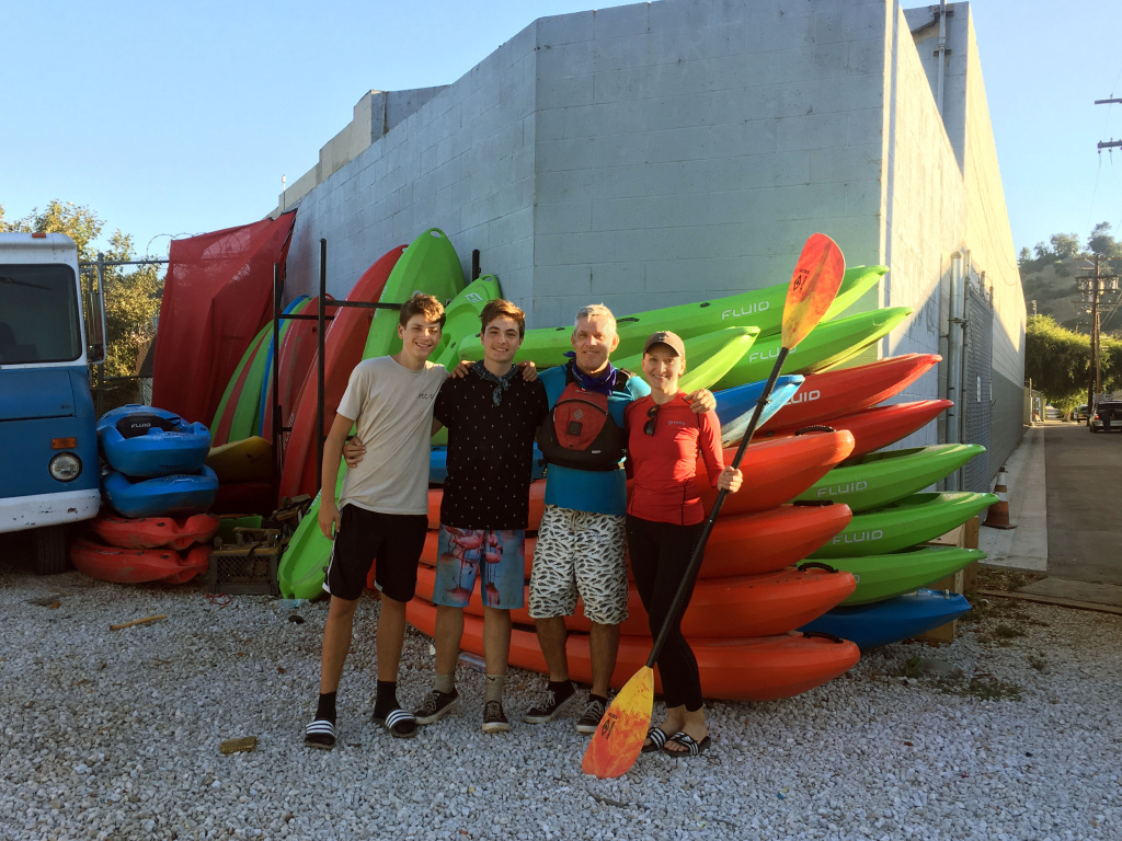 The guides at LA River Kayak Safari posing together at their headquarters in Frogtown