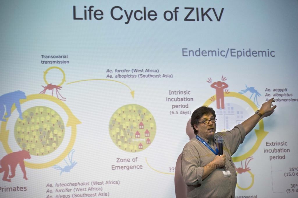 Paolo Zanotto, researcher at the Institute of Biomedical Sciences of the University of Sao Paulo, speaks during a press conference. Researchers at the Pasteur Institute in Dakar, Senegal are in Brazil to train local researchers to combat the Zika virus epidemic.