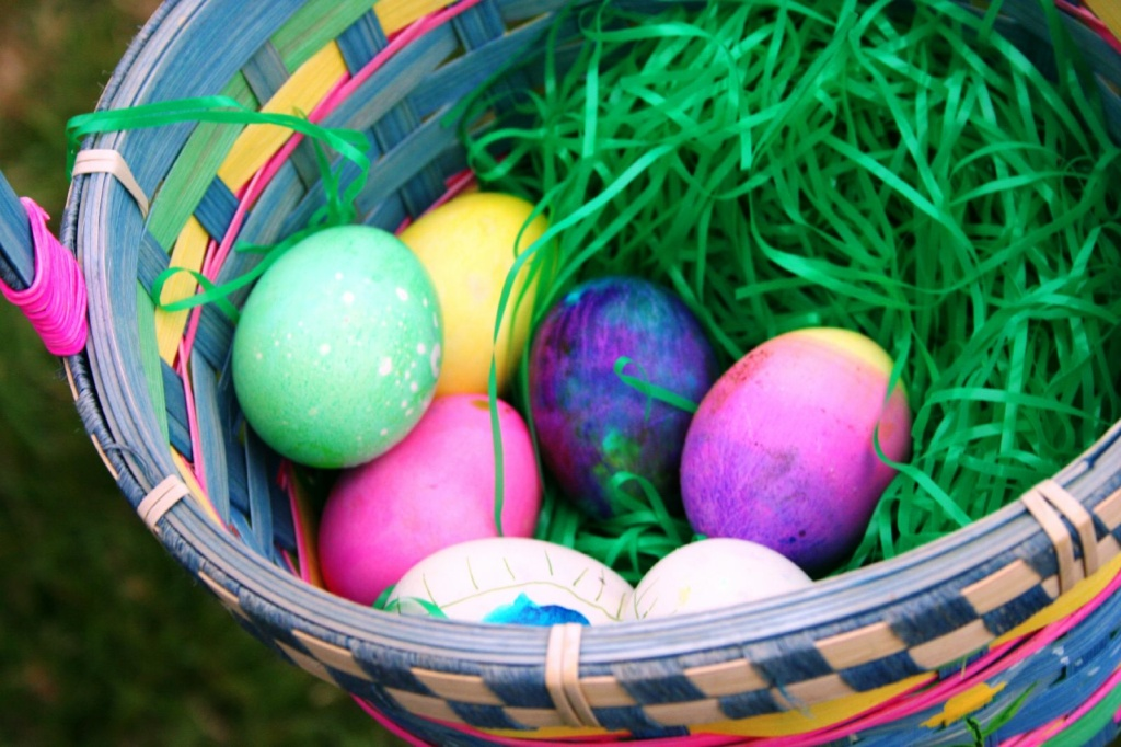File photo of Easter eggs in a basket.