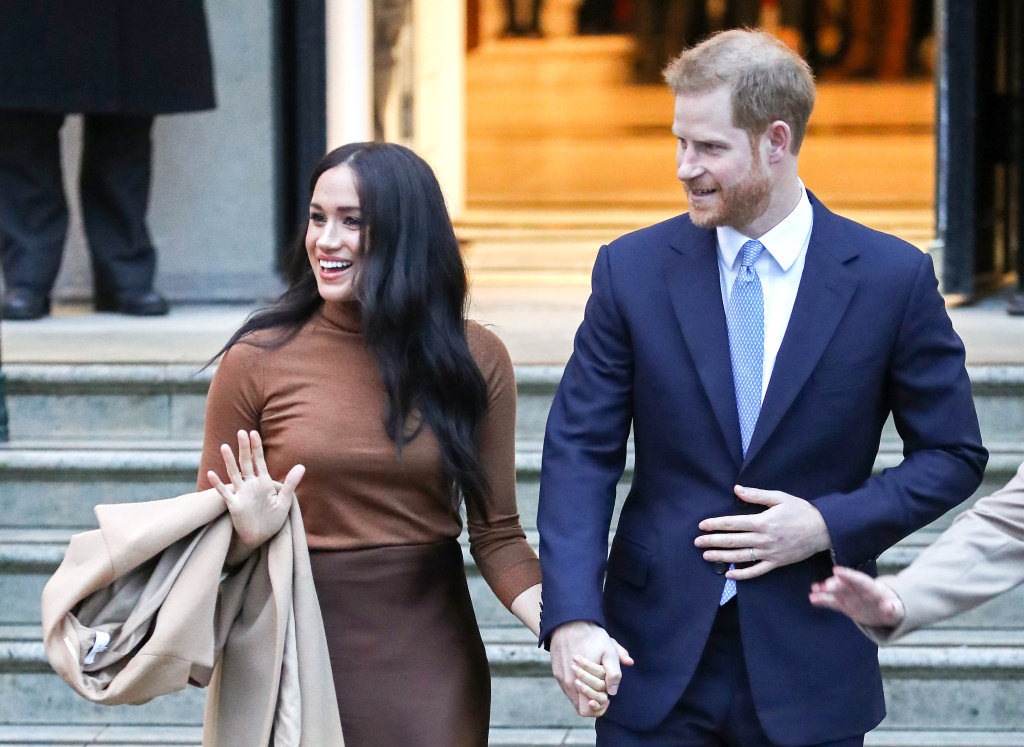 Meghan, Duchess of Sussex and Prince Harry, Duke of Sussex depart Canada House on January 07, 2020 in London, England.