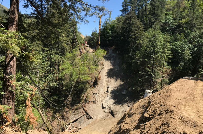 The former site of the Pfeiffer Canyon Bridge in Big Sur.
