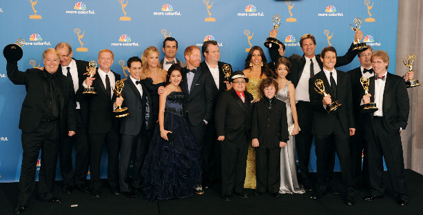 Cast and crew of 'Modern Family', winners of the Outstanding Comedy Series Award pose in the press room at the 62nd Annual Primetime Emmy Awards held at the JW Marriott Los Angeles at L.A. Live on August 29, 2010 in Los Angeles, California.