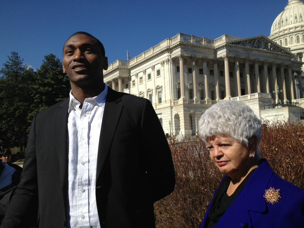 Lakers forward Metta World Peace joined Democratic Congresswoman Grace Napolitano on Capitol Hill Friday.